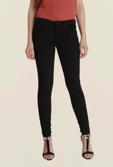 Only Black Solid Skinny Fit Jeans