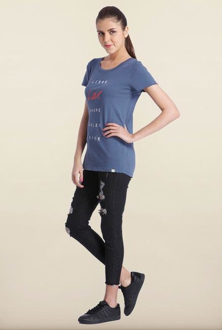 Only Indigo Printed T-Shirt