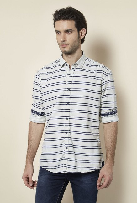 Killer White Twin Striped Casual Shirt