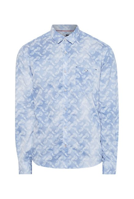 Killer Sky Blue Printed Casual Shirt