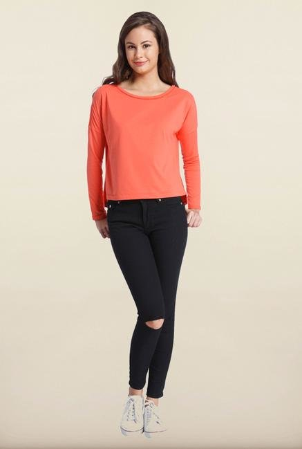 Only Hot Coral Solid T-Shirt