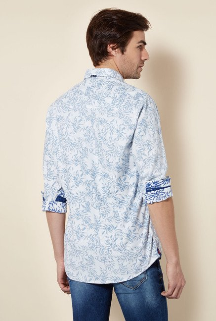 Killer White Leaf Print Casual Shirt