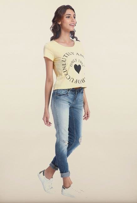 Only Yellow Printed T-Shirt