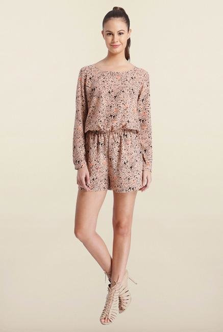 Only Brown Printed Playsuit