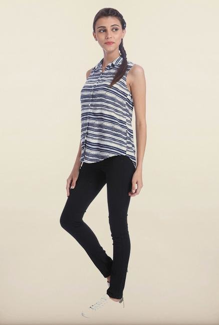 Only White & Blue Striped Casual Shirt