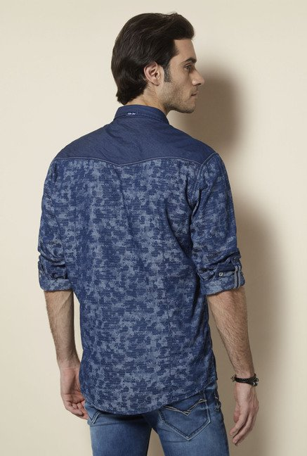 Killer Indigo Printed Casual Shirt
