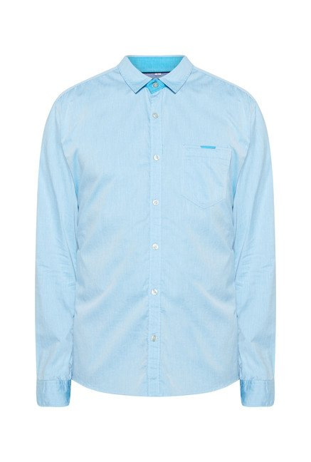Killer Light Blue Slim Fit Casual Shirt