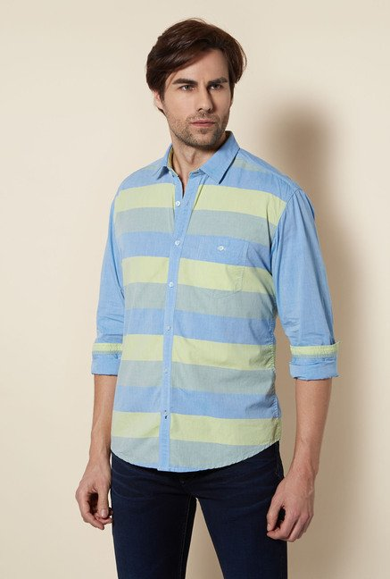 Killer Blue Striped Casual Shirt