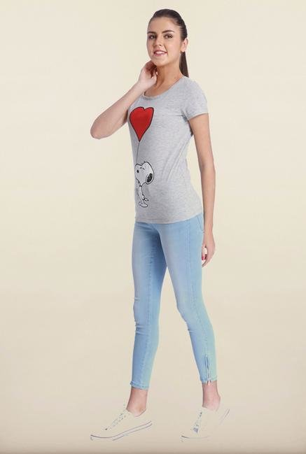 Only Light Grey Cartoon Print T-Shirt