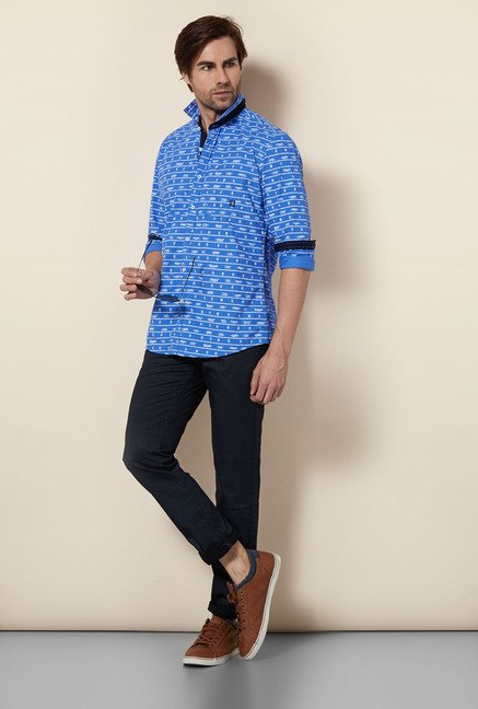Killer Blue Printed Casual Shirt