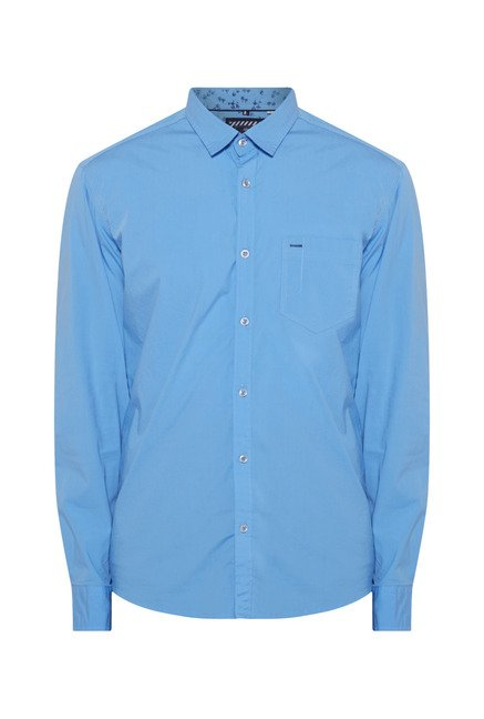 Killer Sky Blue Slim Fit Casual Shirt