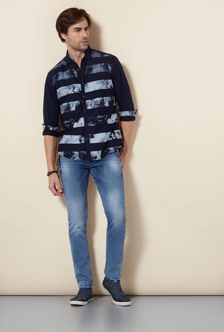 Killer Navy Printed Casual Shirt