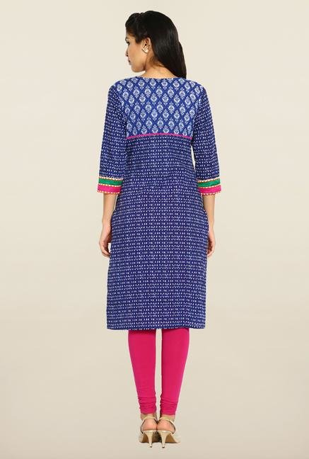 Soch Royal Blue Printed Kurta