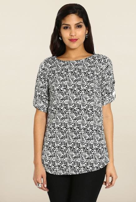 Soch White & Black Printed Short Kurti