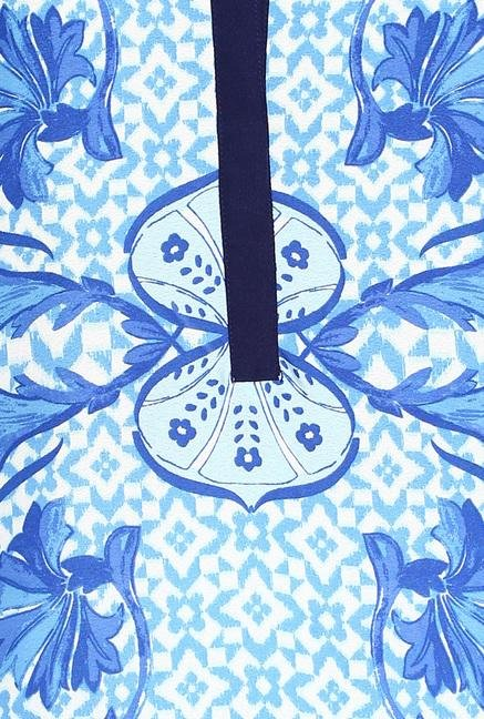 Soch Blue & White Printed Kurta