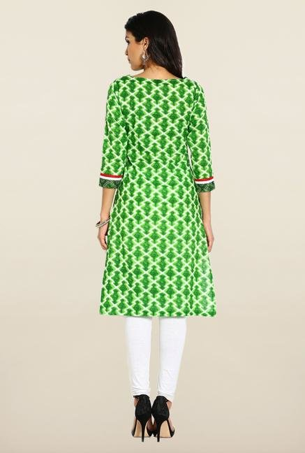 Soch Green & White Cotton Kurta