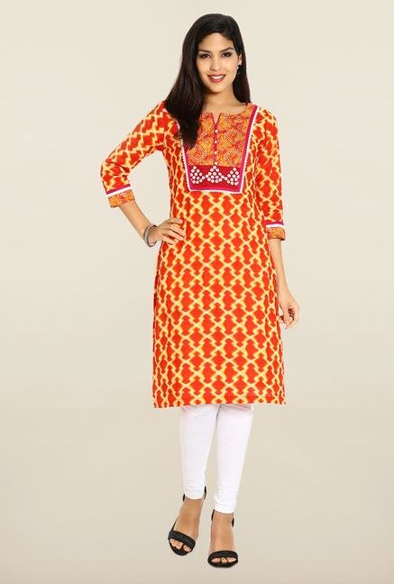 Soch Orange & White Cotton Kurta