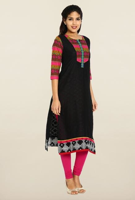 Soch Black & Pink Embroidered Kurta