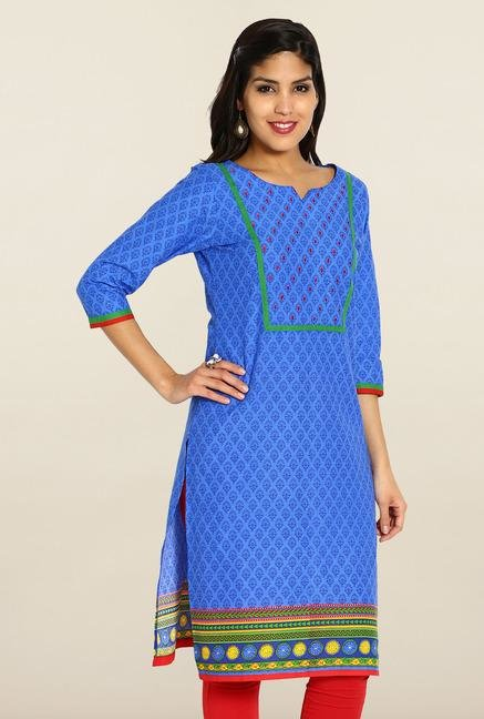 Soch Blue & Green Cotton Kurta