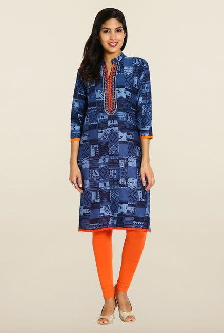 Soch Blue Embroidered Kurta