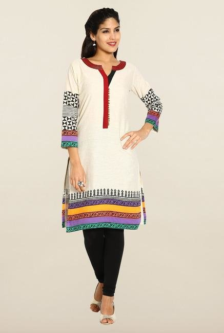 Soch Cream Printed Kurta
