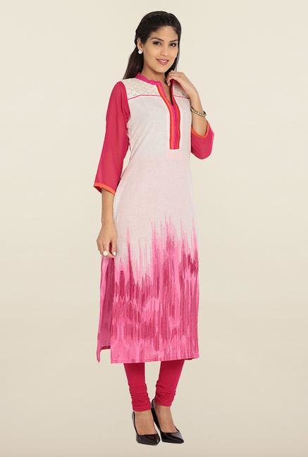 Soch Cream & Pink Cotton Kurta