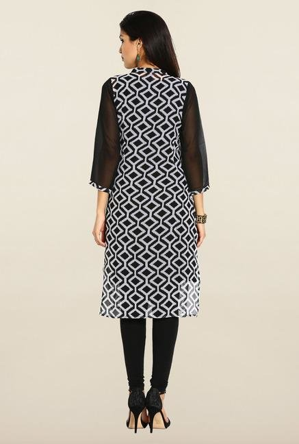 Soch Black & White Georgette Kurta