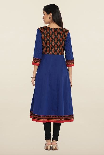 Soch Blue & Black Cotton Anarkali Kurta
