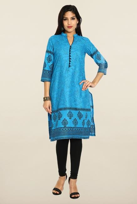 Soch Blue & Black Cotton Printed Kurta