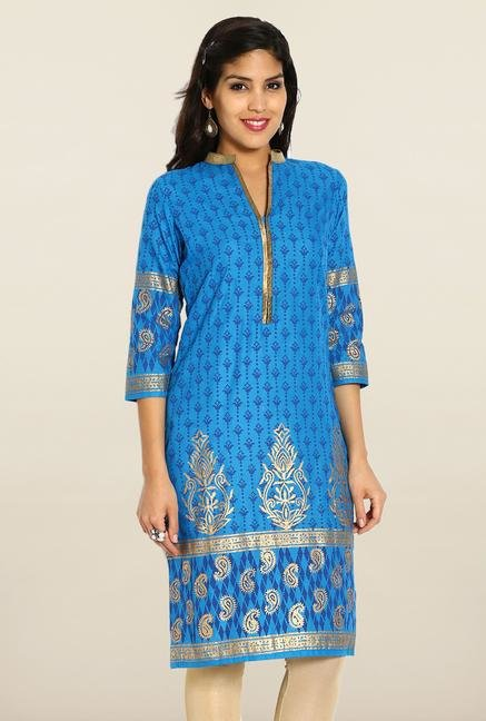 Soch Blue & Gold Cotton Kurta
