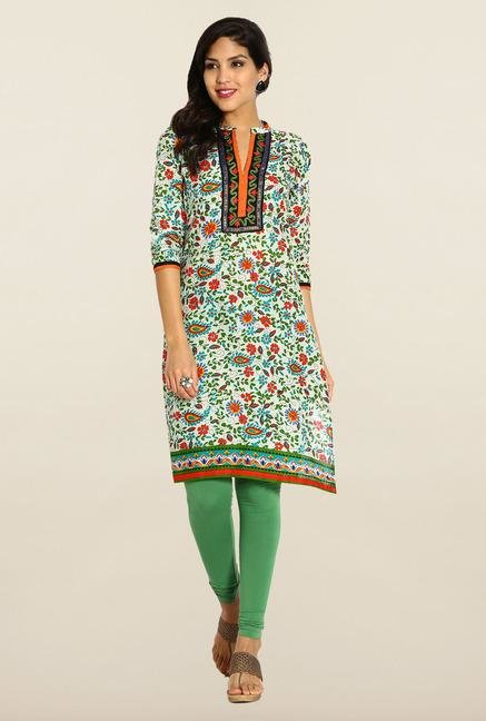Soch Cream & Green Embroidered Kurta