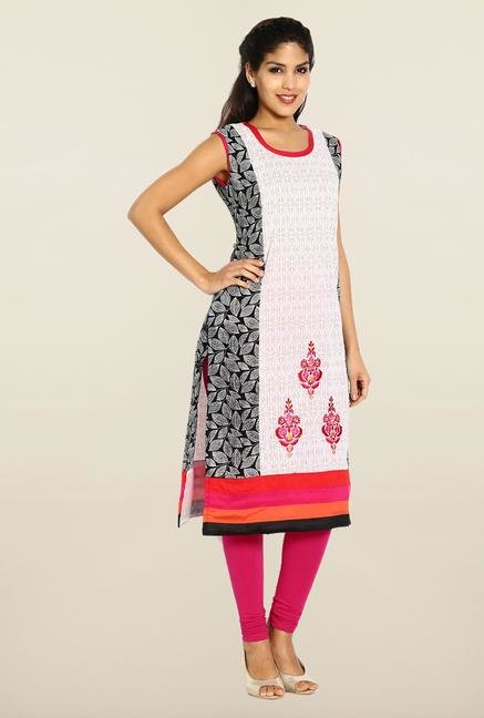 Soch Cream & Black Cotton Kurta