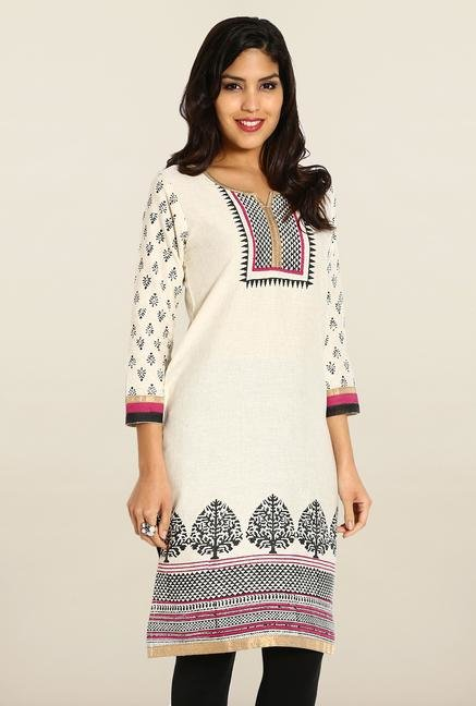 Soch Cream & Black Linen Printed Kurta