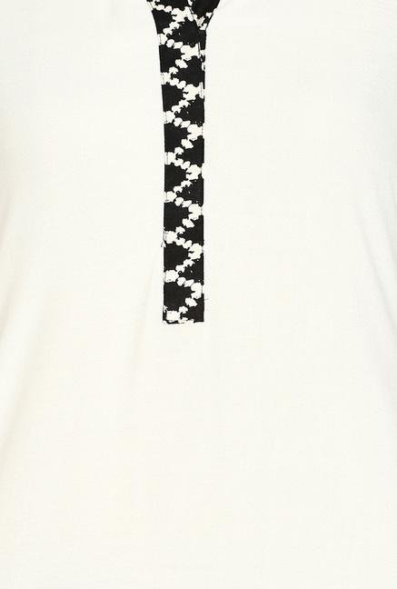 Soch Cream & Black Printed Kurta