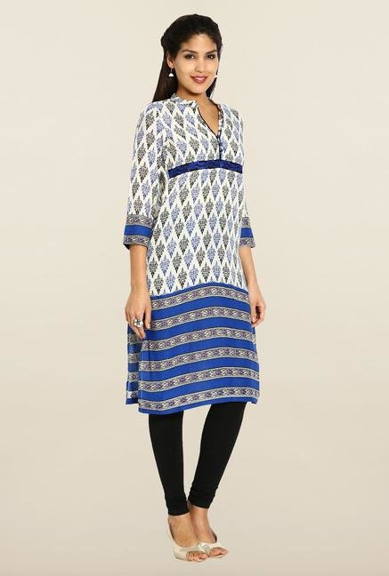 Soch Cream & Blue Cotton Kurta
