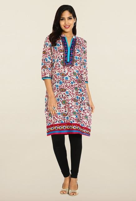 Soch Cream & Dark Pink Cotton Kurta
