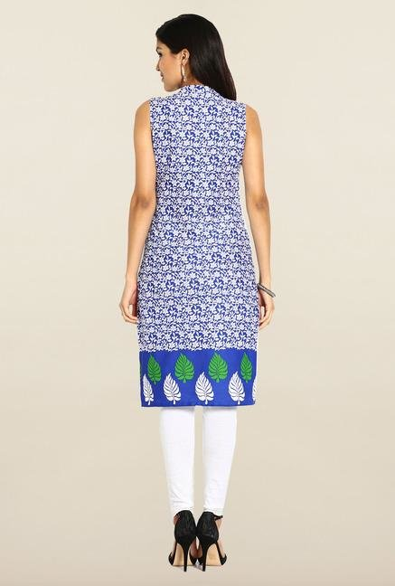 Soch Blue & White Sleeveless Cotton Kurta