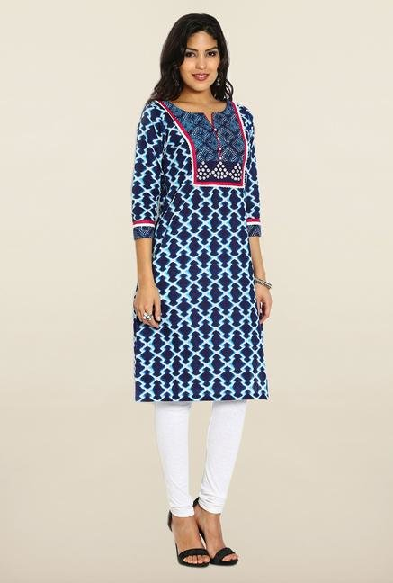 Soch Royal Blue & White Cotton Kurta