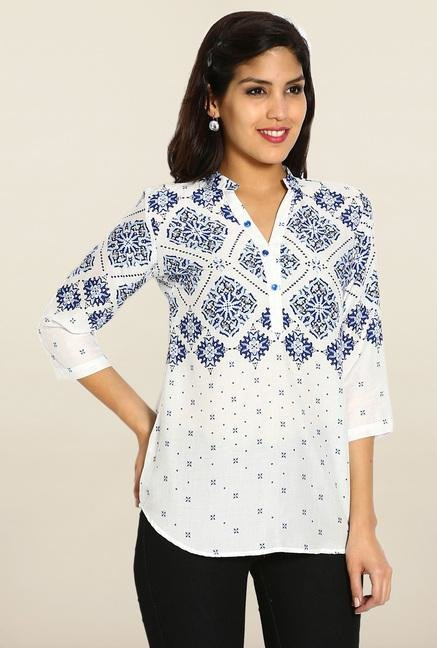 Soch White & Royal Blue Printed Short Kurti