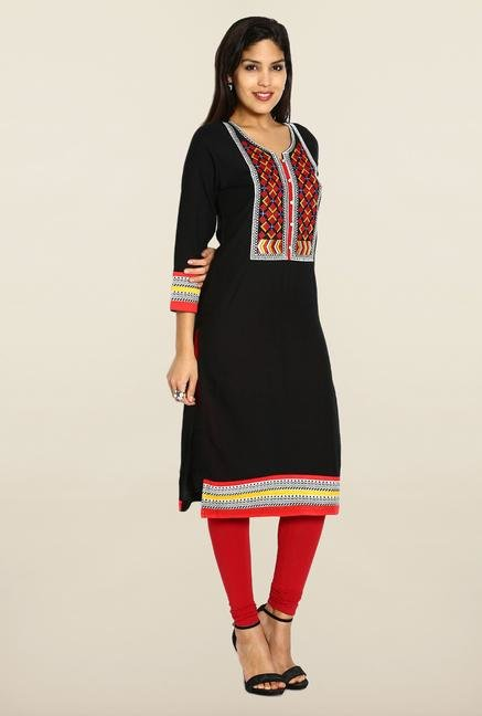 Soch Black & Red Printed Kurta