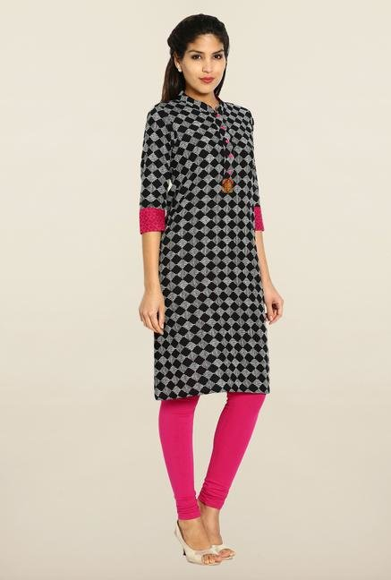 Soch Black & White Checked Cotton Kurta