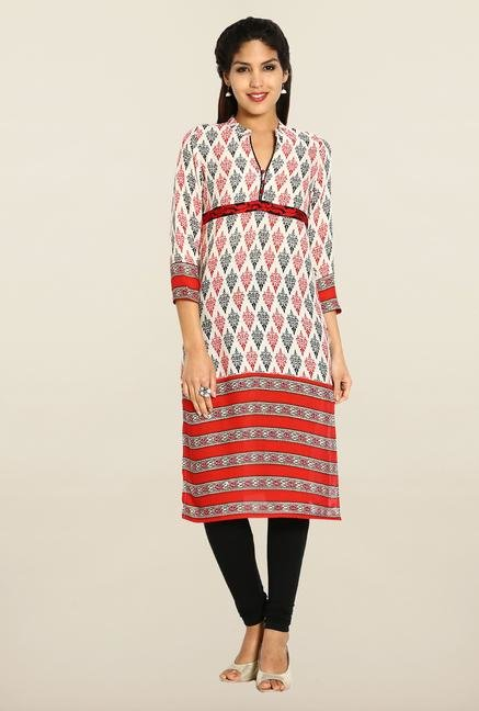Soch Cream & Red Embroidered Cotton Kurta
