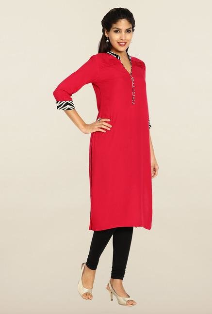 Soch Red Solid Kurta