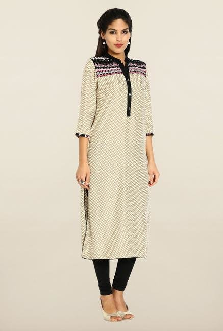 Soch Beige Cotton Printed Kurta