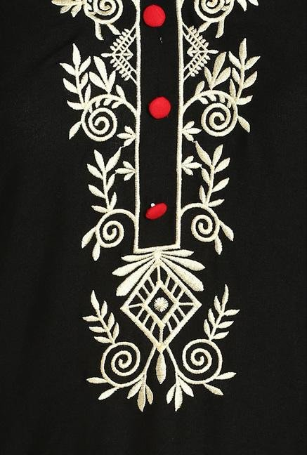 Soch Black Cotton Kurta