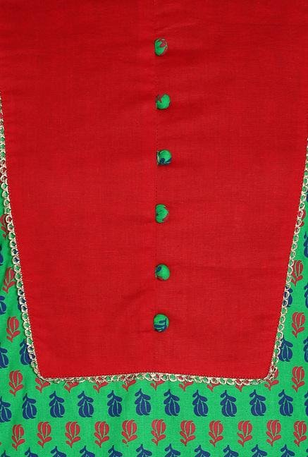 Soch Green & Dark Red Cotton Kurta