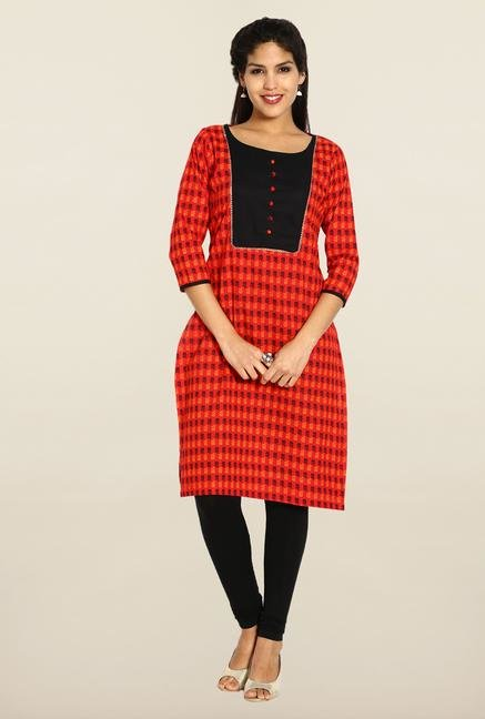 Soch Red & Black Cotton Kurta