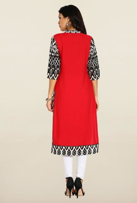 Soch Red & Black Printed Kurta