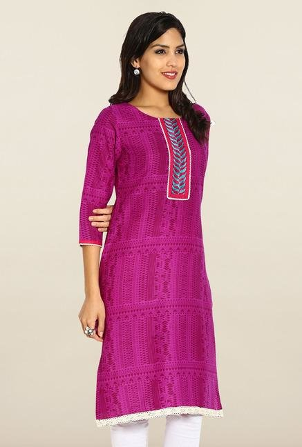 Soch Purple Printed Cotton Kurta