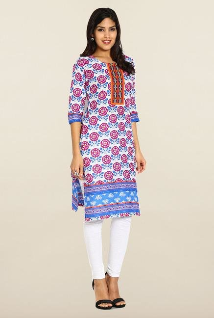 Soch Purple & Royal Blue Cotton Kurta